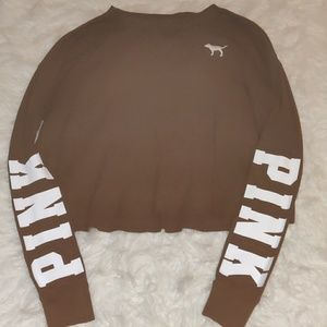 Hunter green colored VS PINK long sleeved crop top